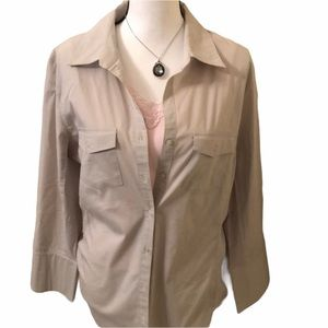Taupe Button Up Collared Long Sleeve Blouse XL EUC